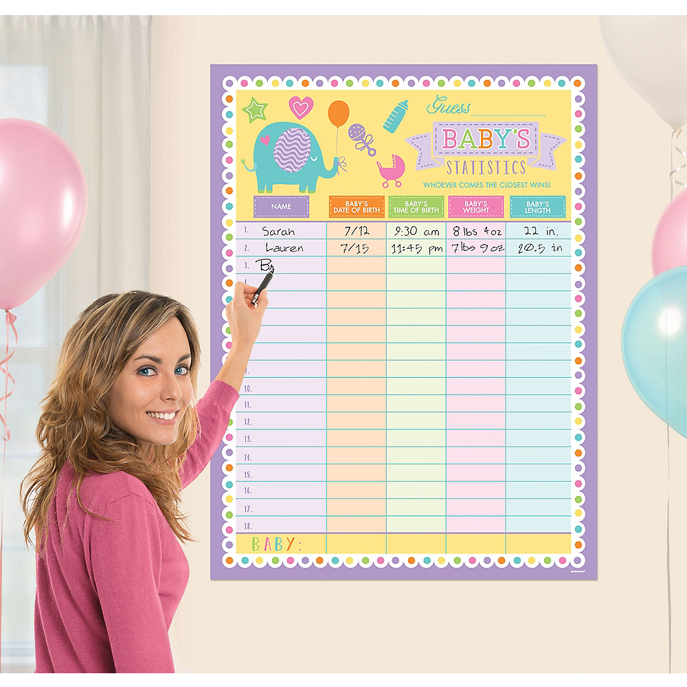 Guess The Baby Statistics Baby Shower Game Poster 30in X 40in