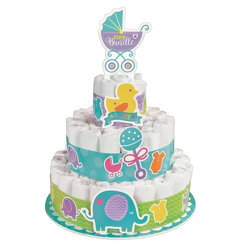 baby shower diaper cake kit 16pc party city. Black Bedroom Furniture Sets. Home Design Ideas