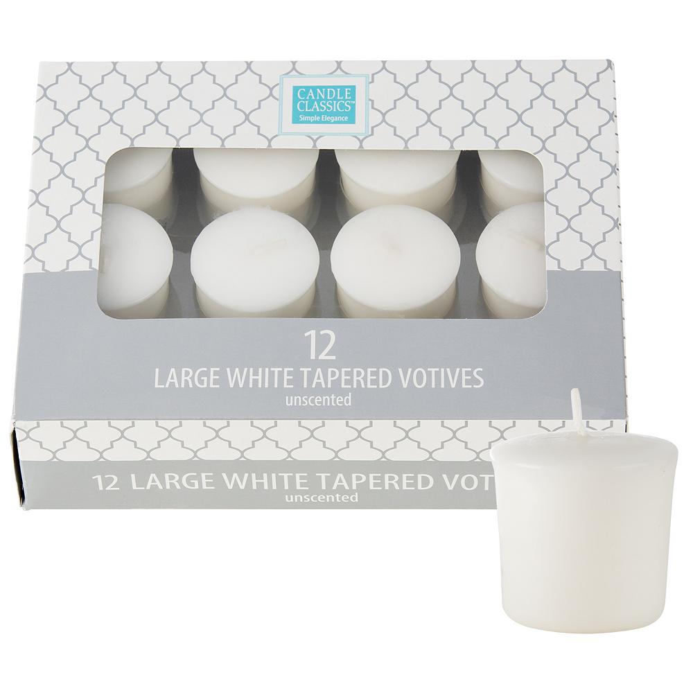 Large White Votive Candles 12ct Image #1