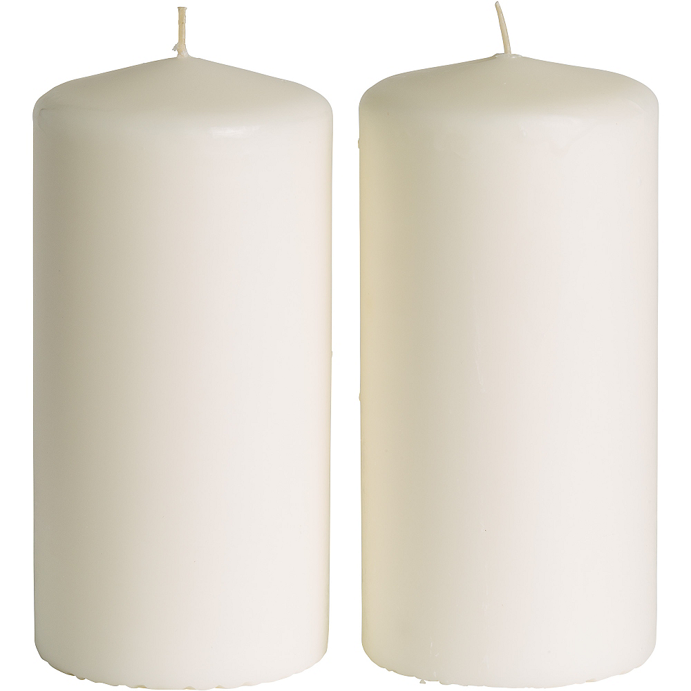 Large White Pillar Candles 2ct Image #1