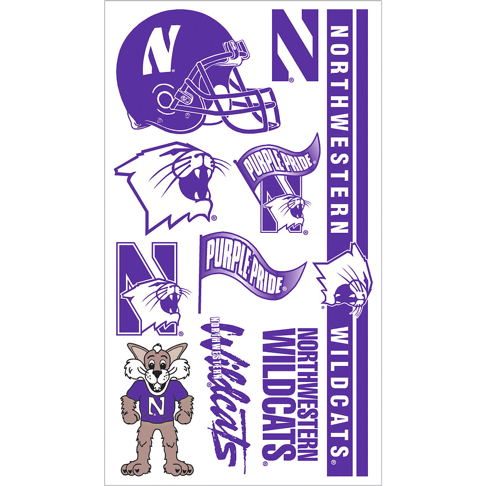 Northwestern Wildcats Tattoos 10ct Image #1
