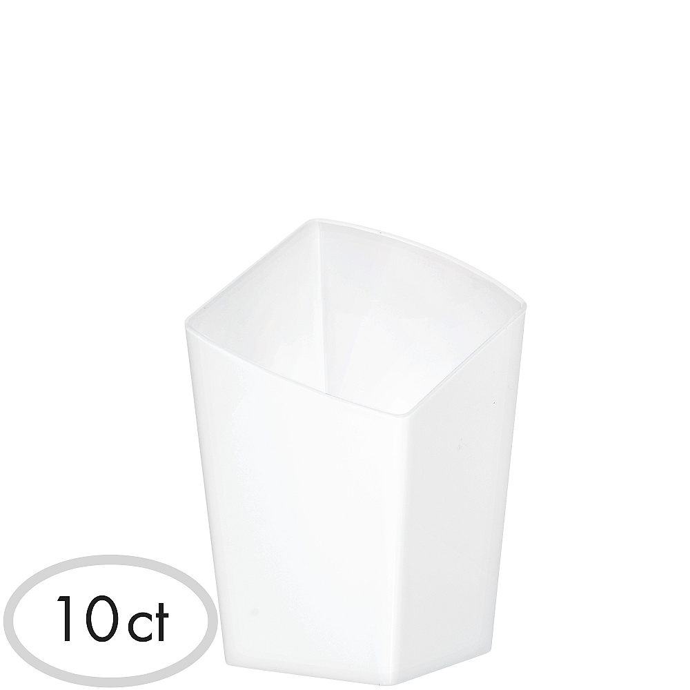Mini White Plastic Slanted Tumblers 10ct Image #1