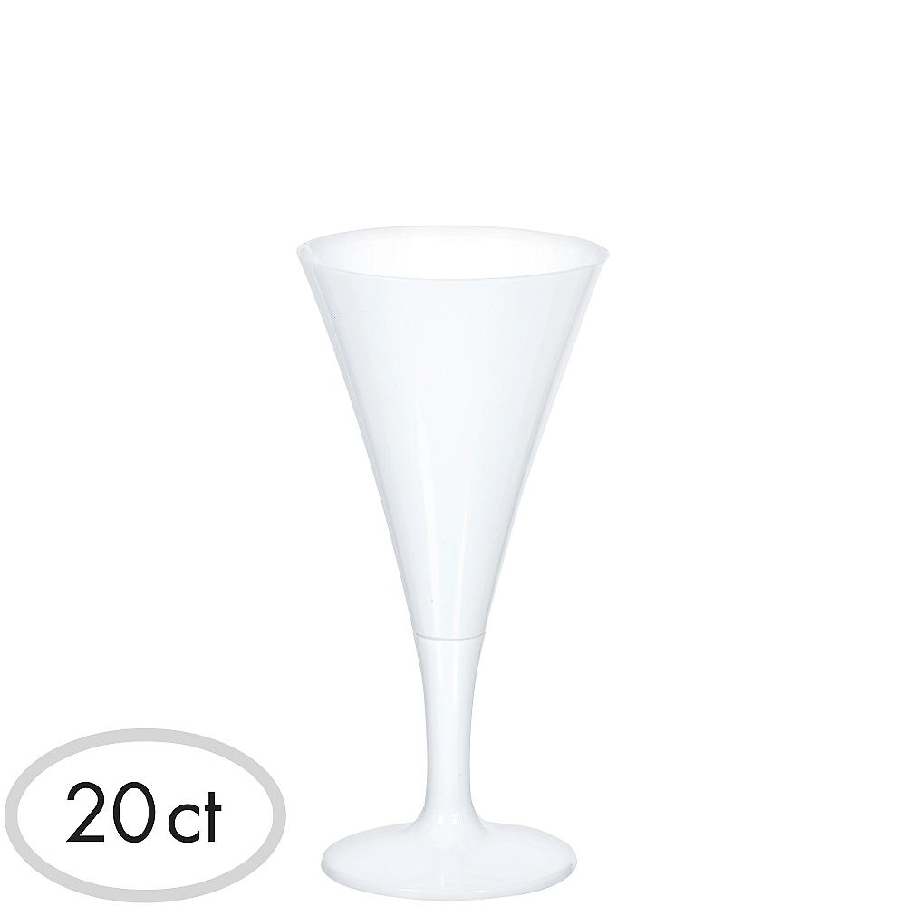 Mini White Plastic Champagne Flutes 20ct Image #1
