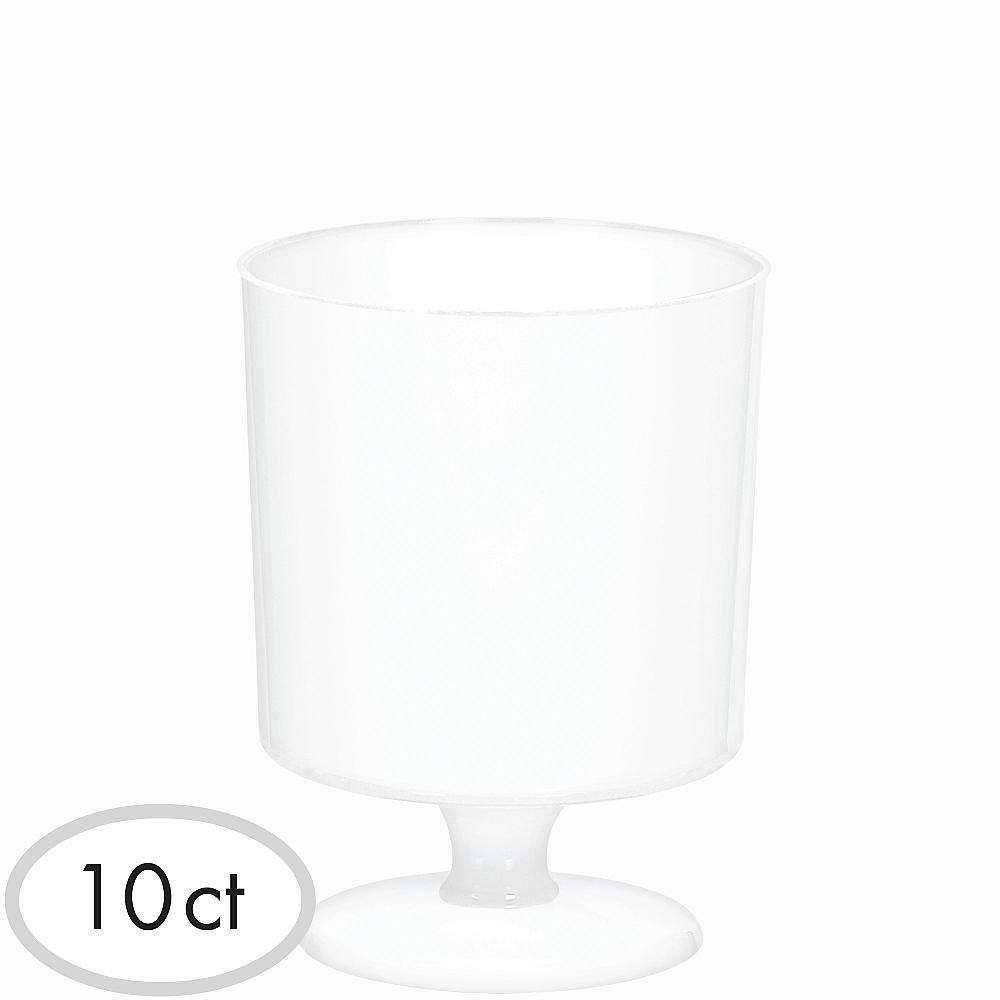 Mini White Plastic Pedestal Cups 10ct Image #1