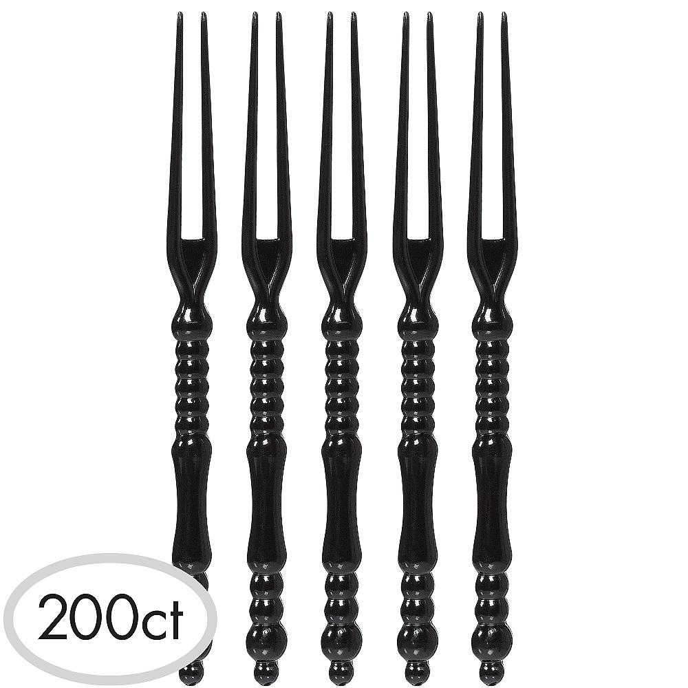 Tall Black Plastic Cocktail Picks 200ct Image #1