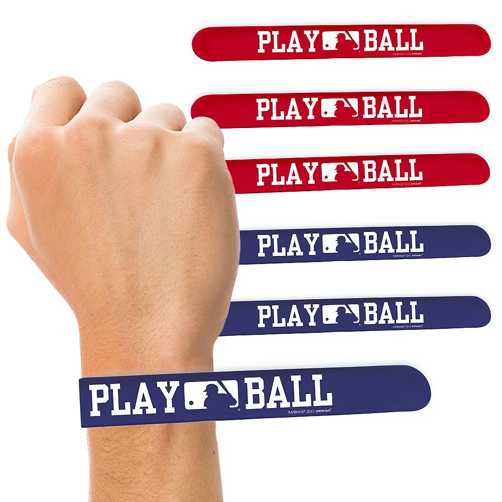 Nav Item for MLB Baseball Slap Bracelets 6ct Image #1