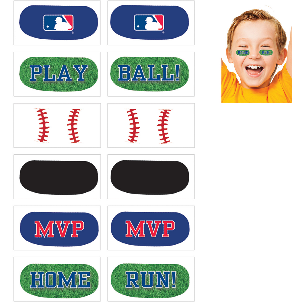 MLB Baseball Eye Black Tattoos 1 Sheet Image #1
