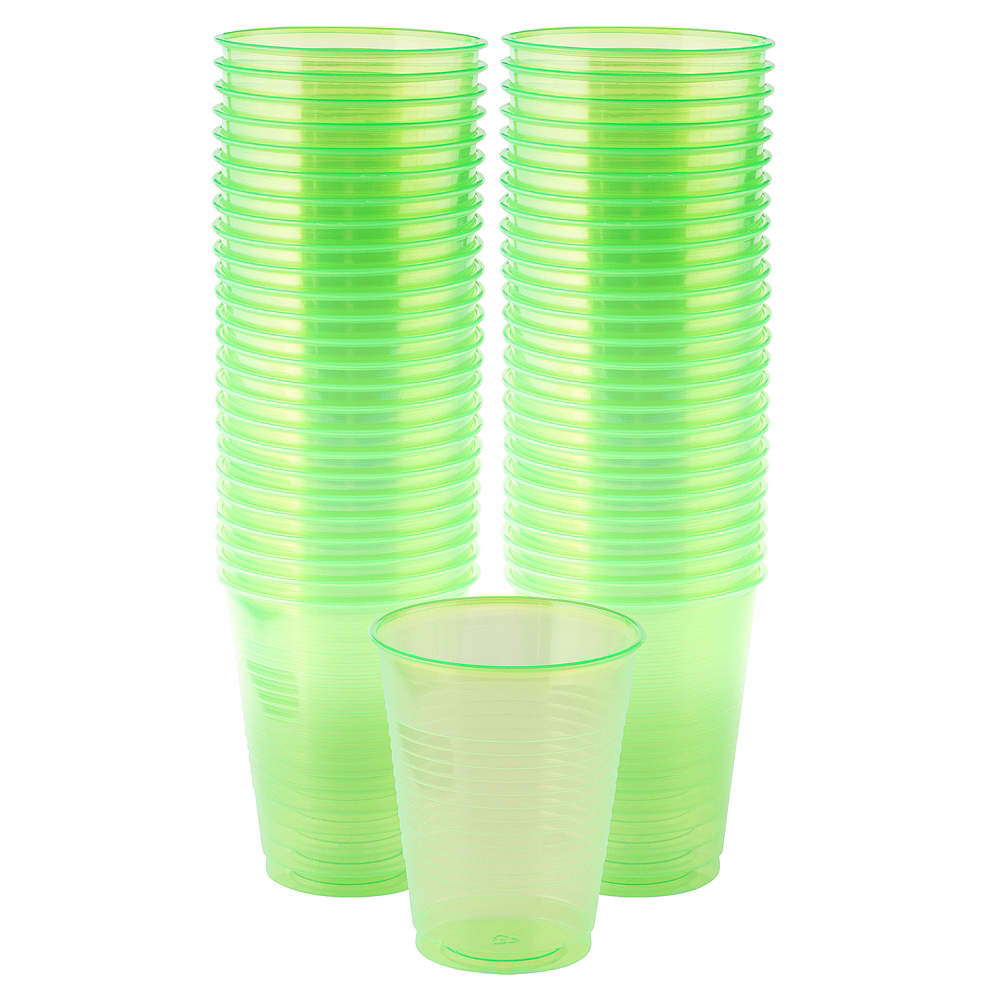 Big Party Pack Black Light Neon Green Plastic Cups 50ct Image #1