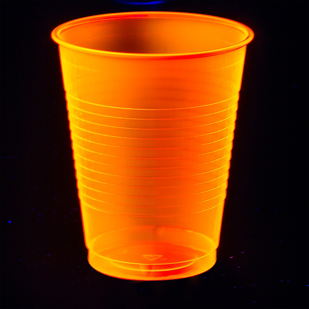 Big Party Pack Black Light Neon Orange Plastic Cups 50ct