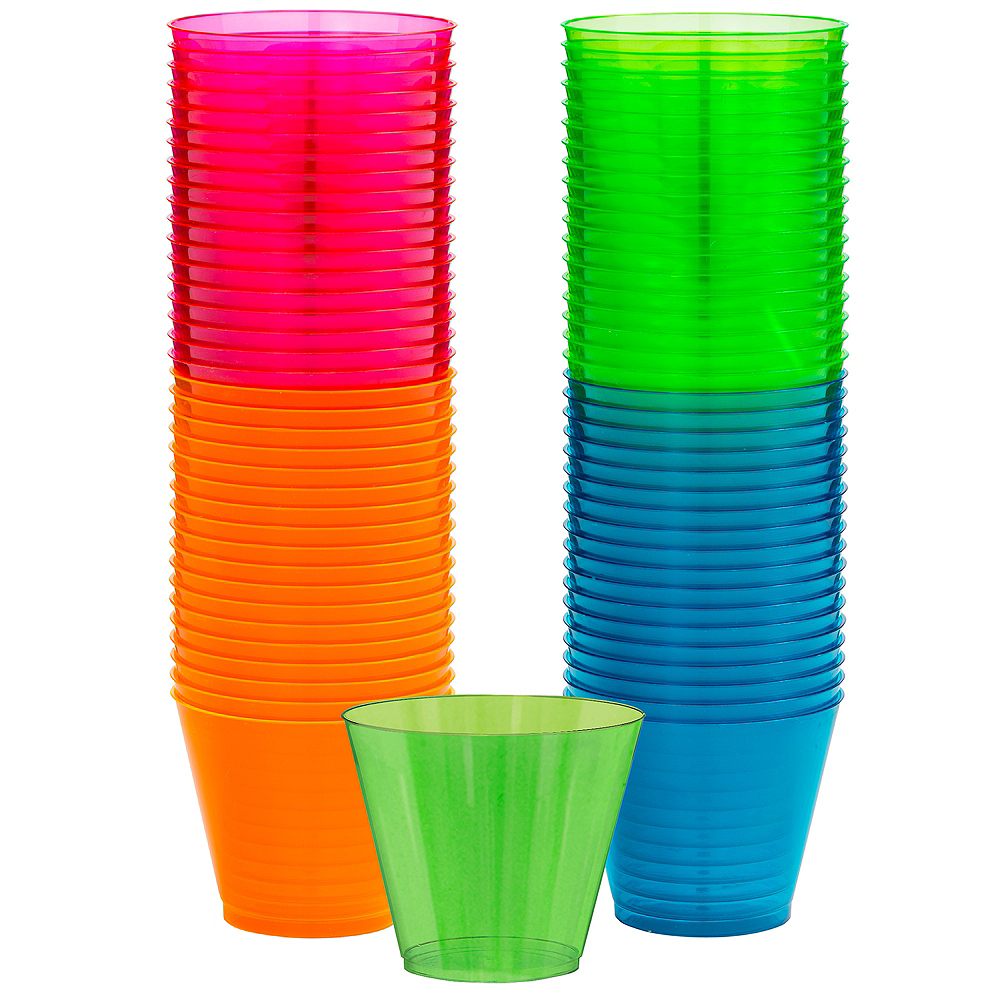 Big Party Pack Black Light Neon Plastic Tumblers 72ct Image #1