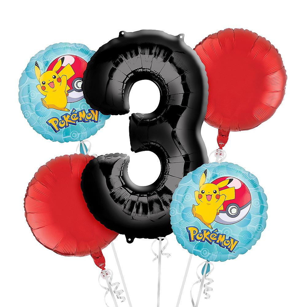 Pokemon 3rd Birthday Balloon Bouquet 5pc Image #1