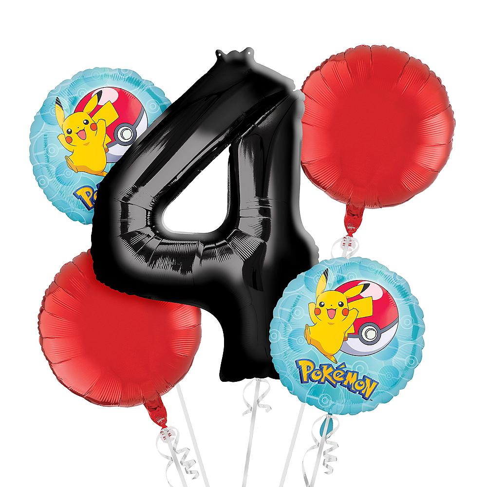 Pokemon 4th Birthday Balloon Bouquet 5pc Image #1