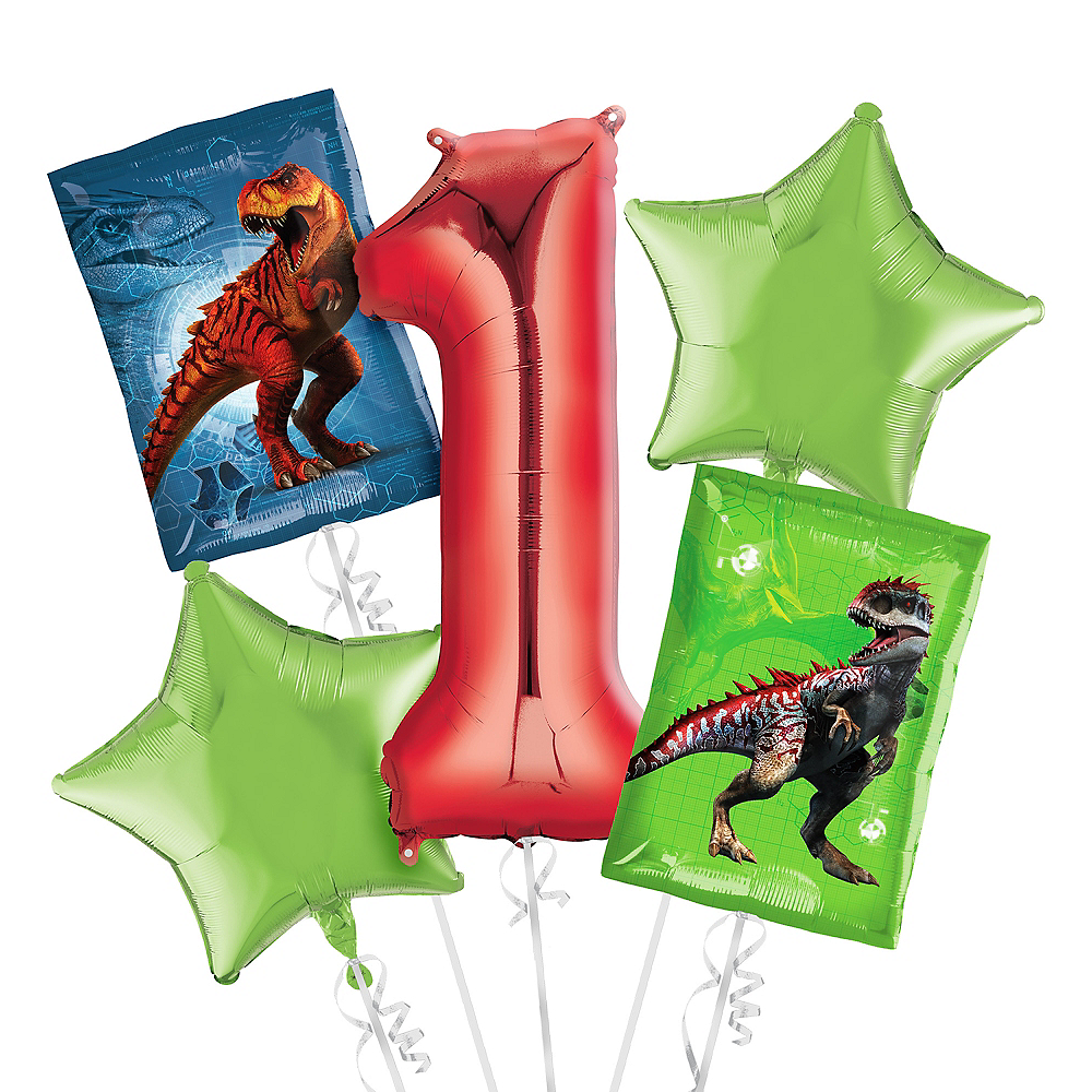 Prehistoric Dinosaurs 1st Birthday Balloon Bouquet 5pc Image #1