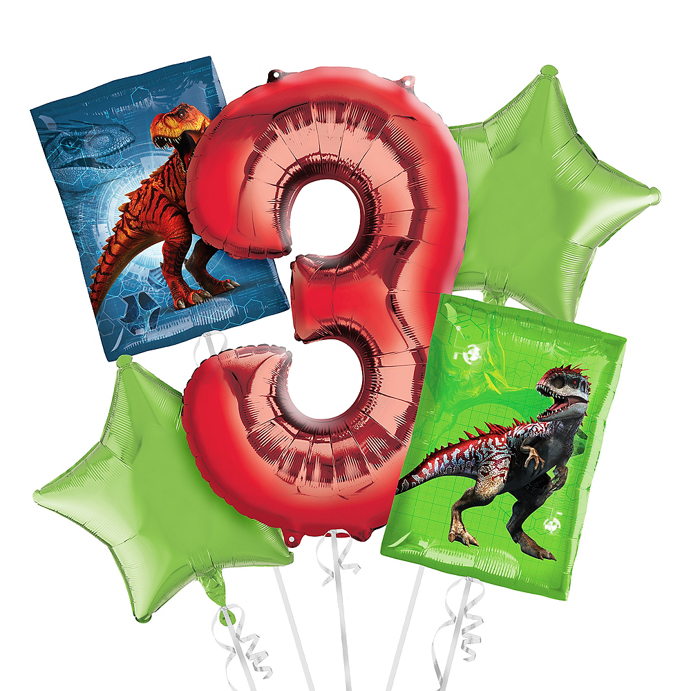Prehistoric Dinosaurs 3rd Birthday Balloon Bouquet 5pc Image #1
