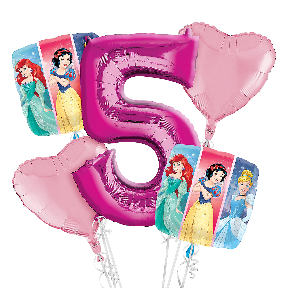 Disney Princess 5th Birthday Balloon Bouquet 5pc Image #1