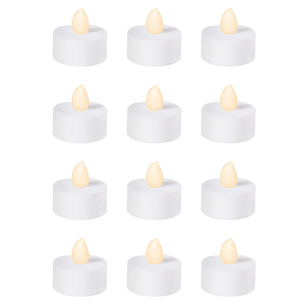 White Tealight Flameless LED Candles 12ct Image #1