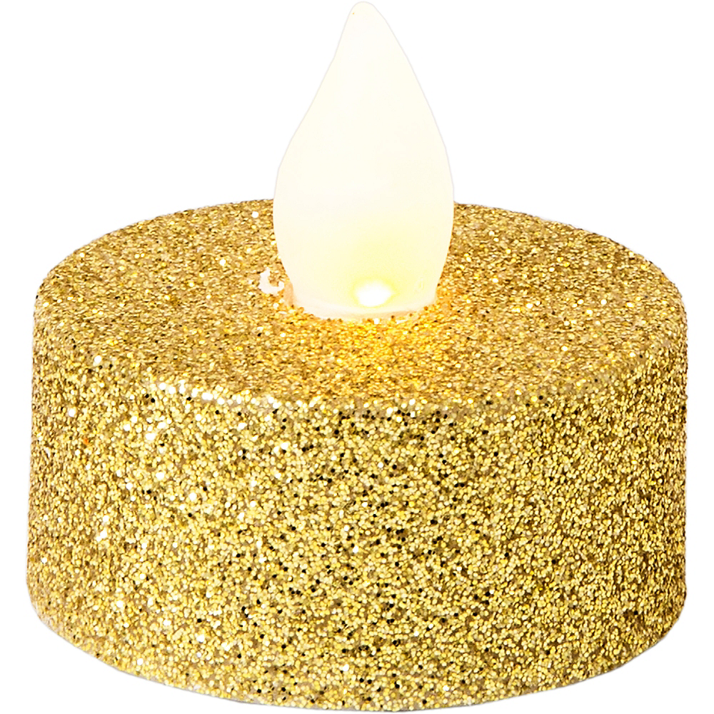 Glitter Gold Tealight Flameless LED Candles 10ct Image #2