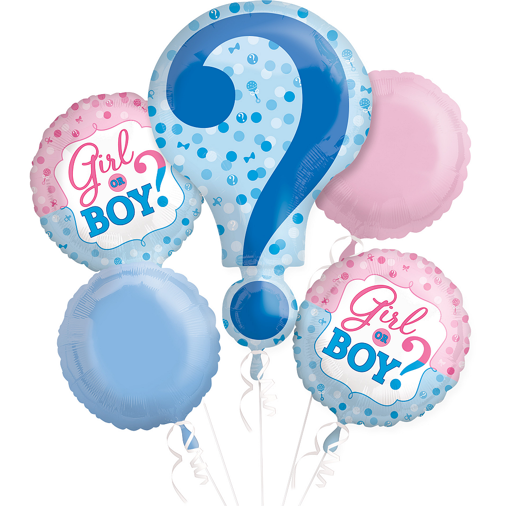 Gender Reveal Balloon Bouquet 5pc Image #1