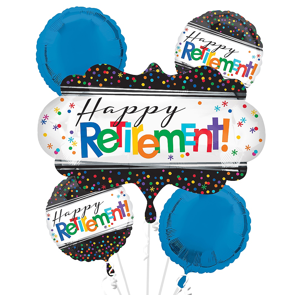 Happy Retirement Celebration Balloon Bouquet 5pc Image 1