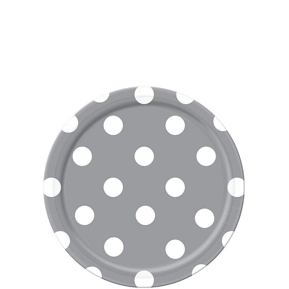 Silver Polka Dot Dessert Plates 8ct Image #1