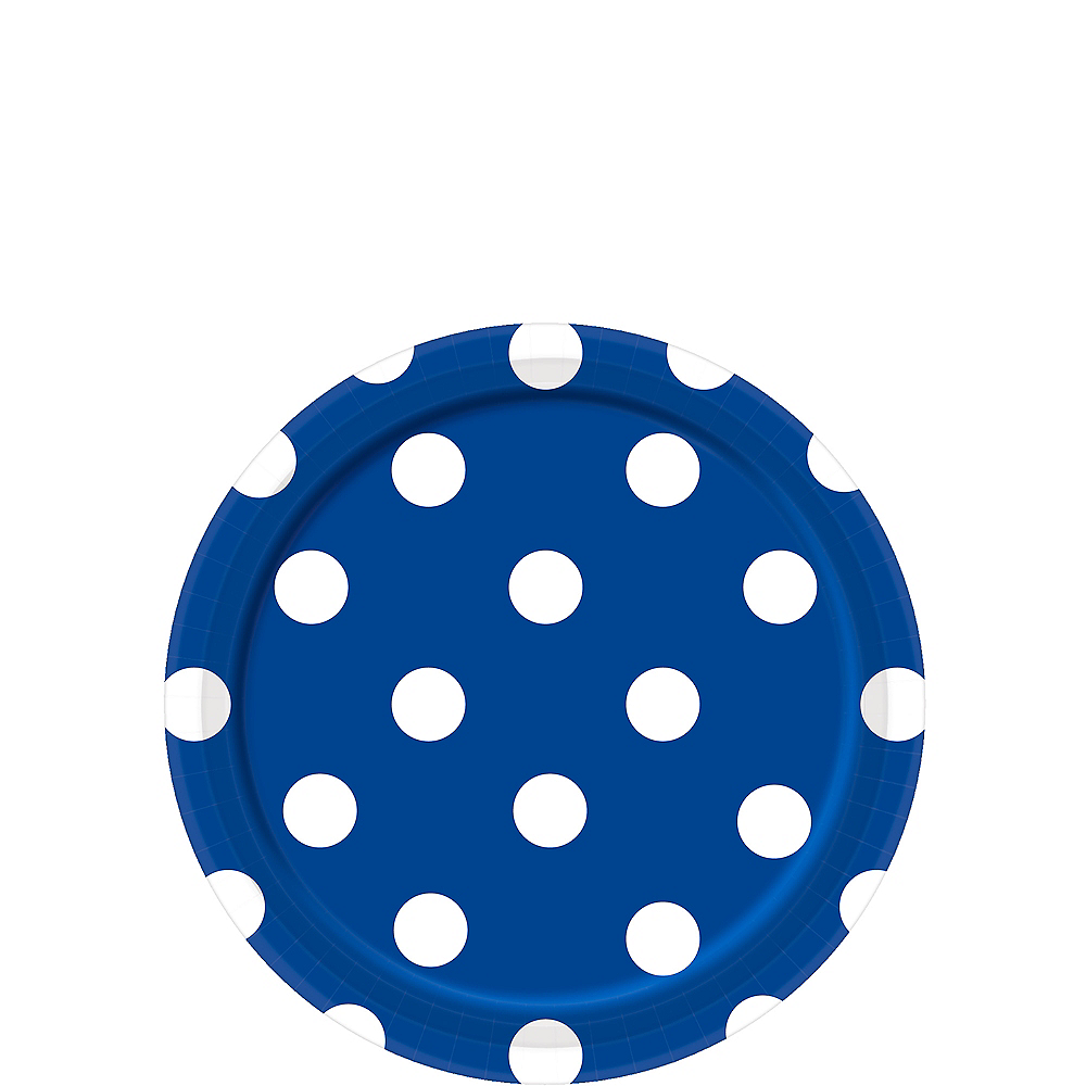 Royal Blue Polka Dot Dessert Plates 8ct Image #1