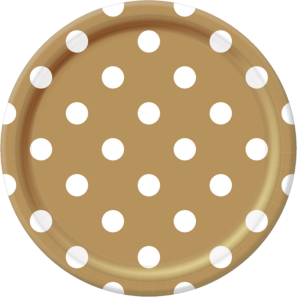 Gold Polka Dot Lunch Plates 8ct Image #1