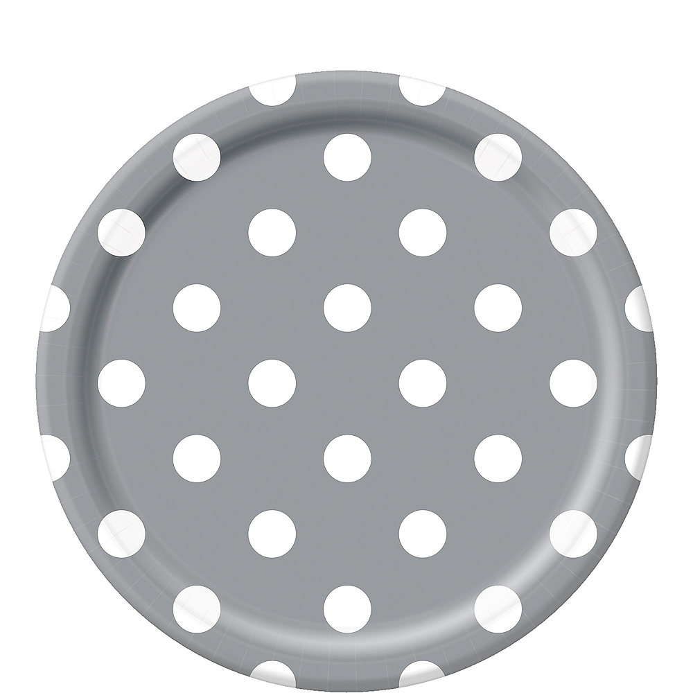 Silver Polka Dot Lunch Plates 8ct Image #1