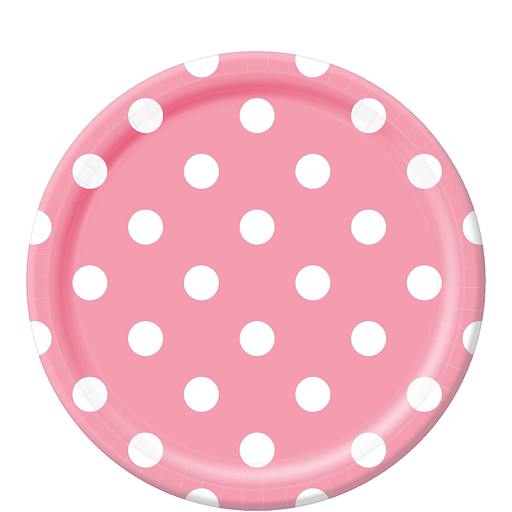 Pink Polka Dot Lunch Plates 8ct Image #1