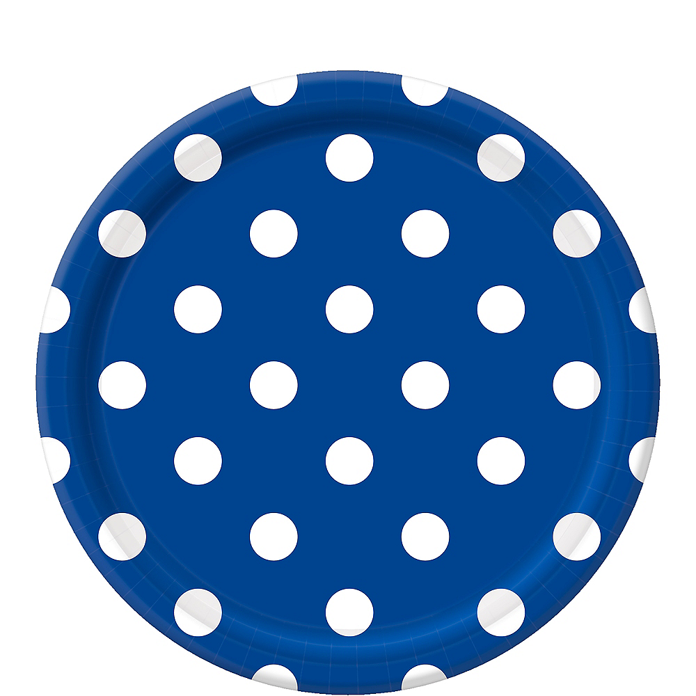 Royal Blue Polka Dot Lunch Plates 8ct Image #1