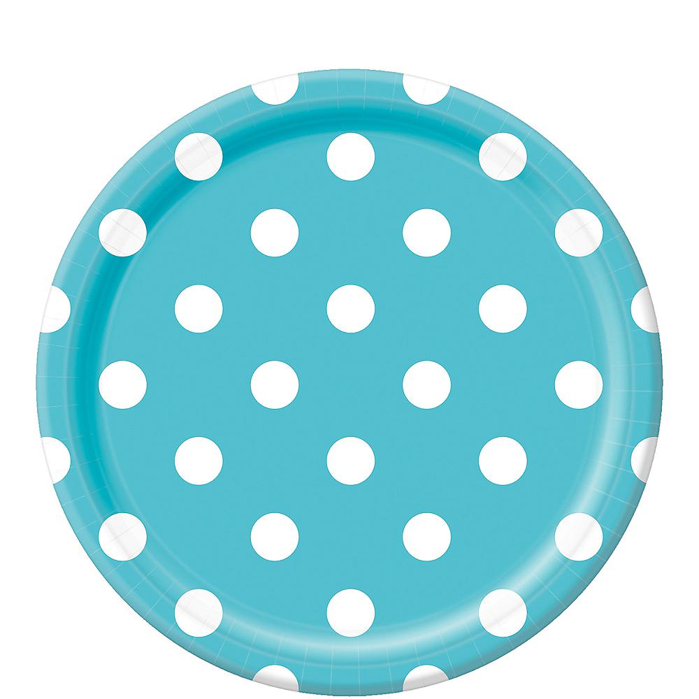 Caribbean Blue Polka Dot Lunch Plates 8ct Image #1