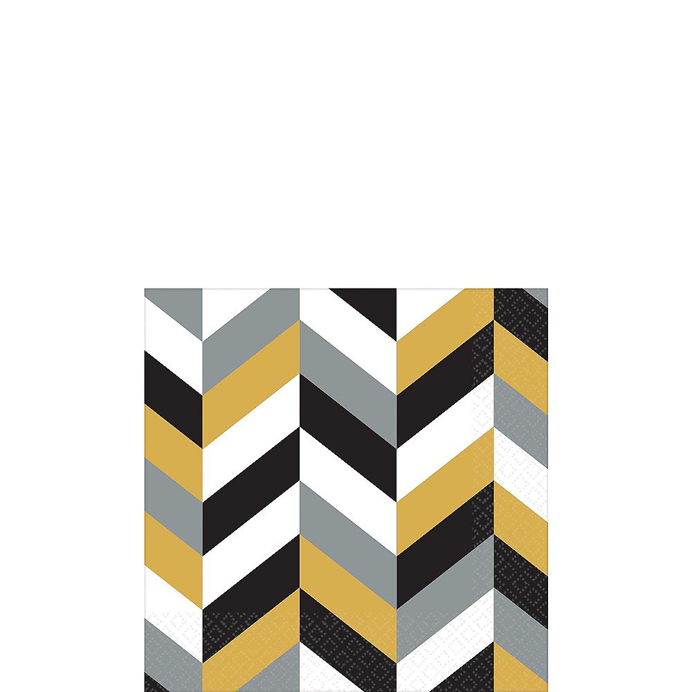 Black, Gold & Silver Herringbone Beverage Napkins 16ct Image #1