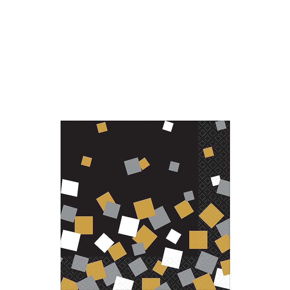 Black, Gold & Silver Squares Beverage Napkins 16ct Image #1