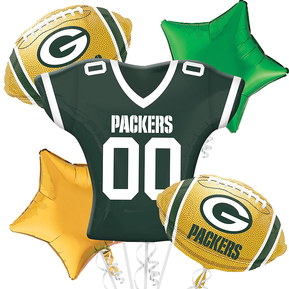 Green Bay Packers Jersey Balloon Bouquet 5pc Image #1