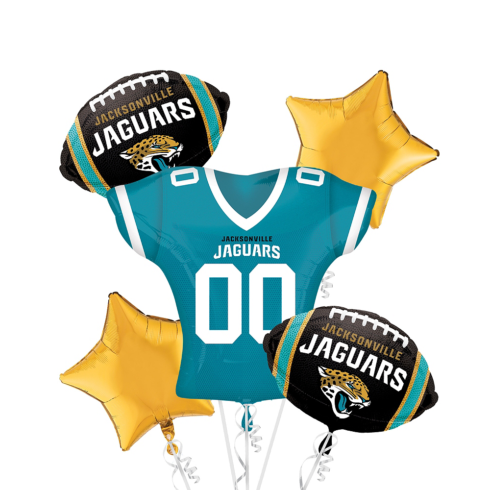 Nav Item for Jacksonville Jaguars Jersey Balloon Bouquet 5pc Image #1