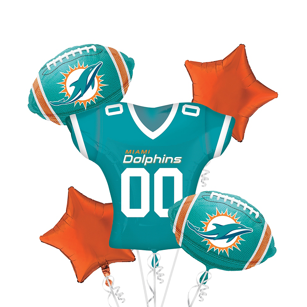 Miami Dolphins Jersey Balloon Bouquet 5pc Image #1