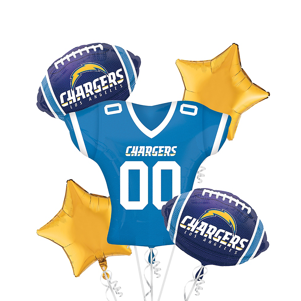Los Angeles Chargers Jersey Balloon Bouquet 5pc Image #1