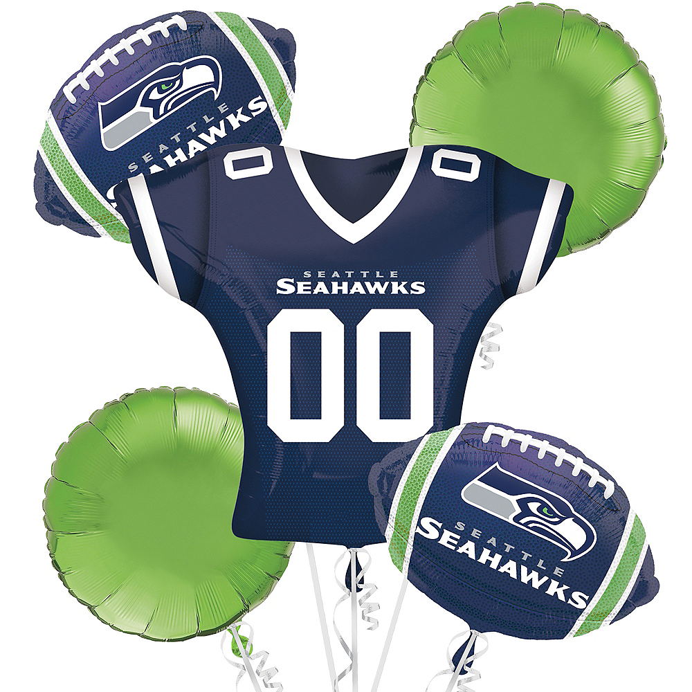 Nav Item for Seattle Seahawks Jersey Balloon Bouquet 5pc Image #1