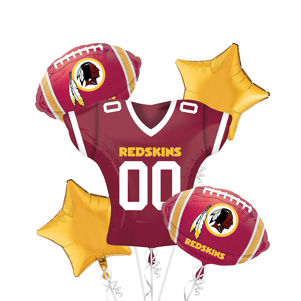Nav Item for Washington Redskins Jersey Balloon Bouquet 5pc Image #1