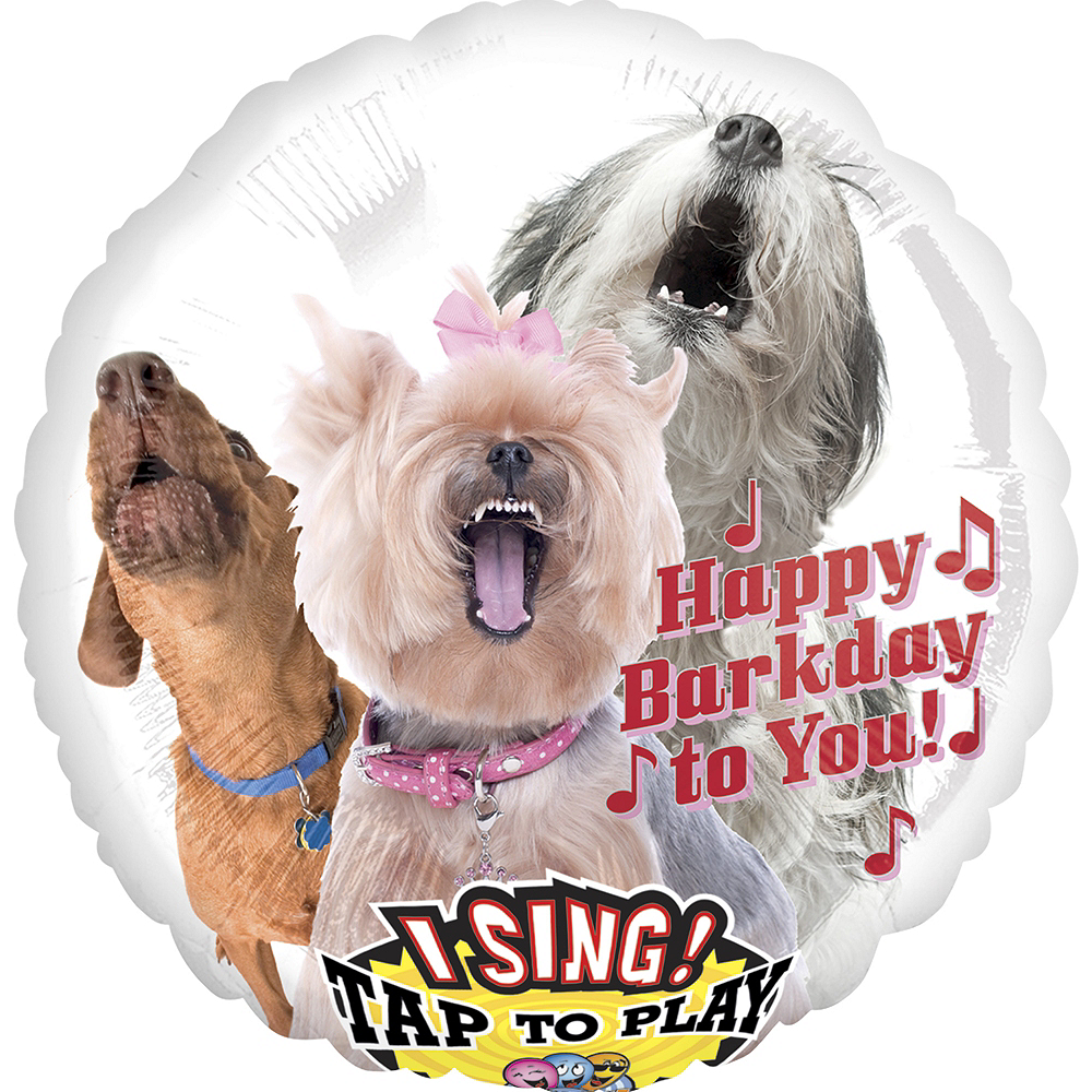 Nav Item for Happy Birthday Dog Balloon - Singing, 28in Image #1