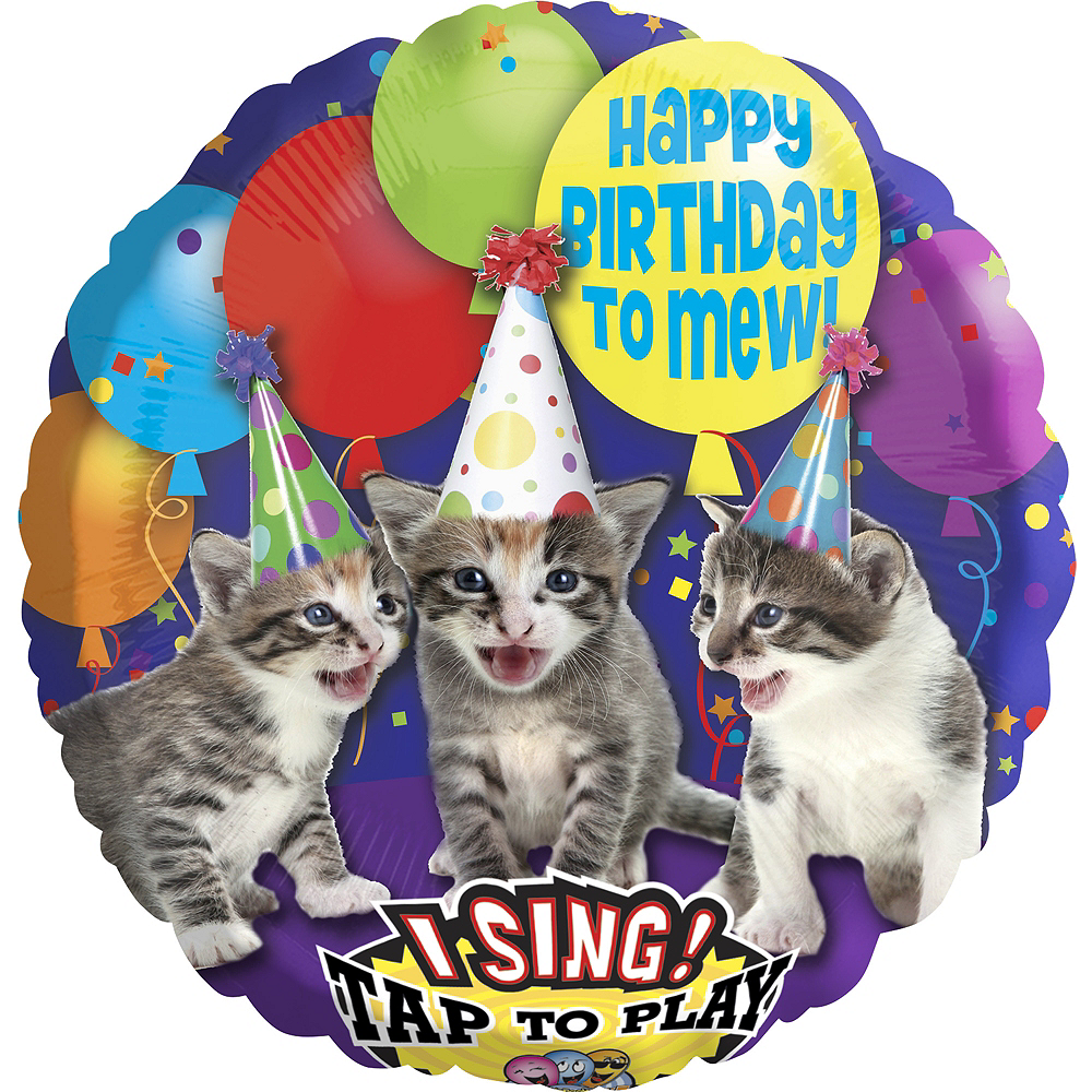 Happy Birthday Kitten Balloon 28in - Singing, 28in Image #1