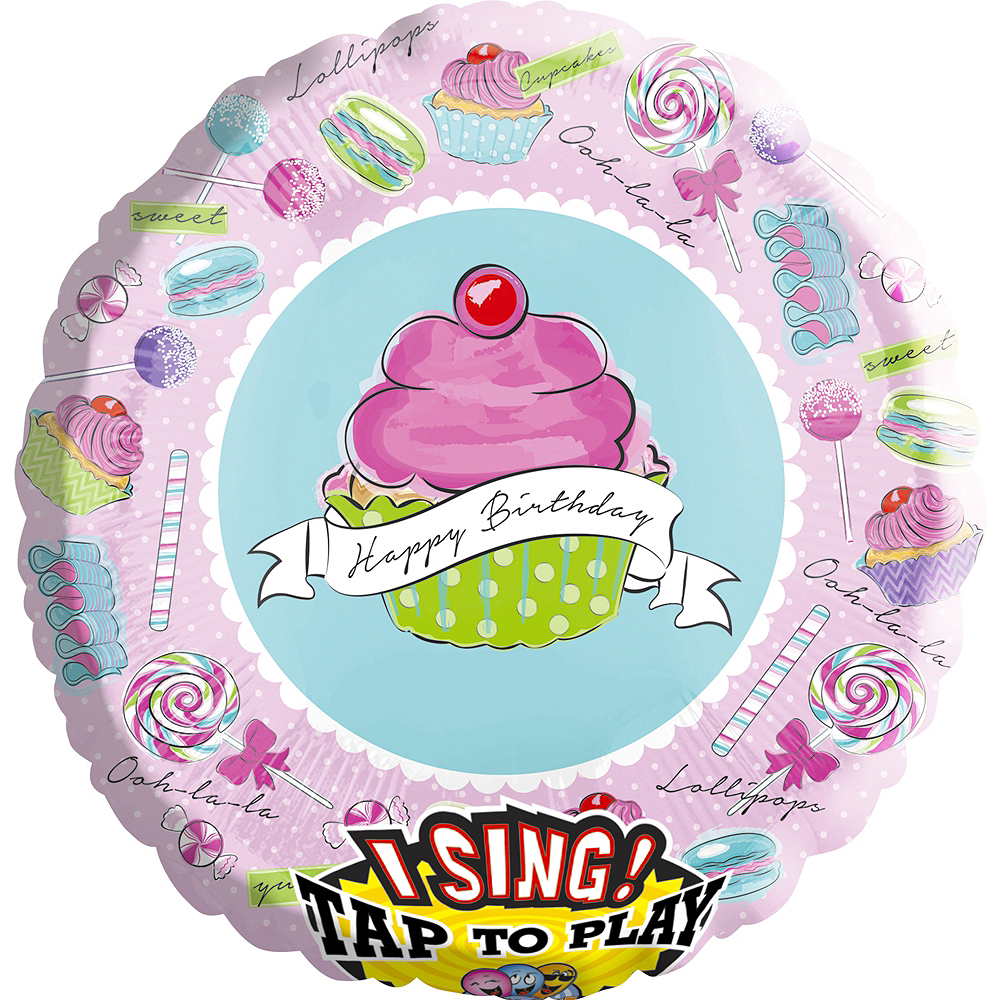 Giant Happy Birthday Cupcake Balloon - Singing, 28in Image #1