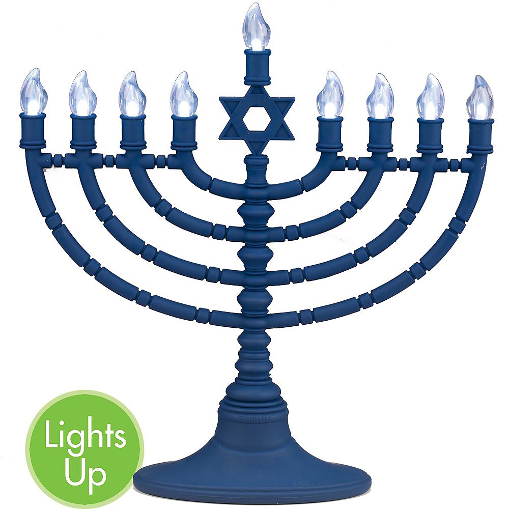 Light-Up Blue Menorah Image #1