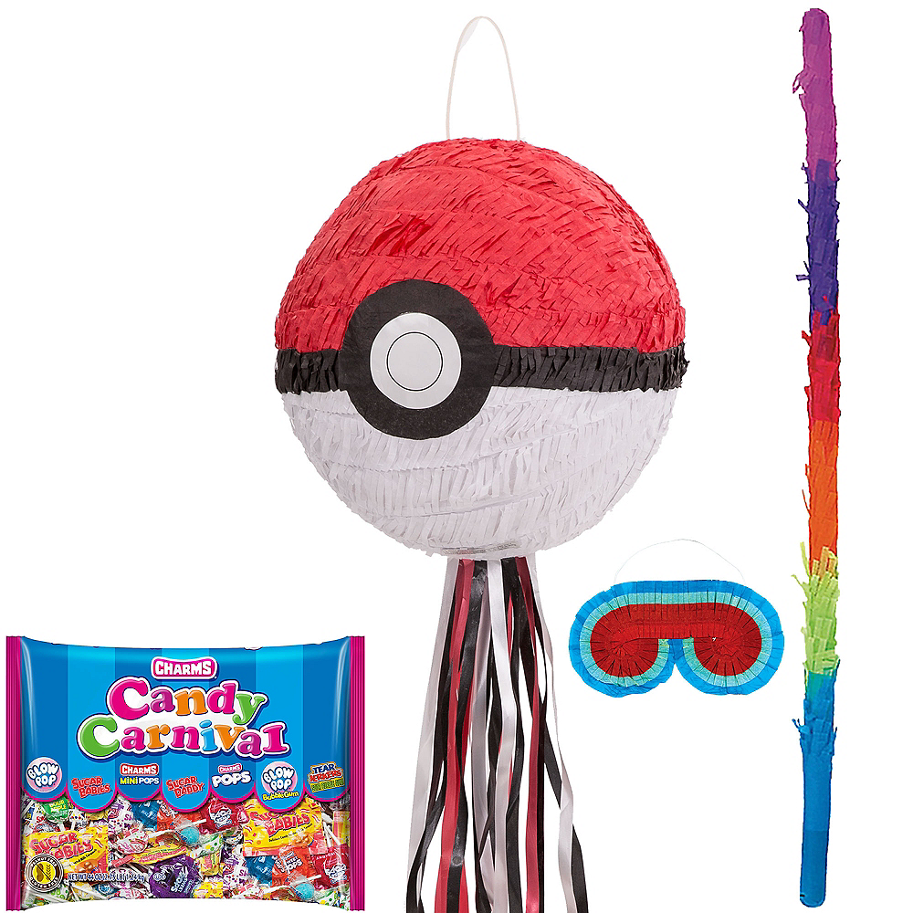 Pull String Pokeball Pinata Kit - Pokemon Image #1
