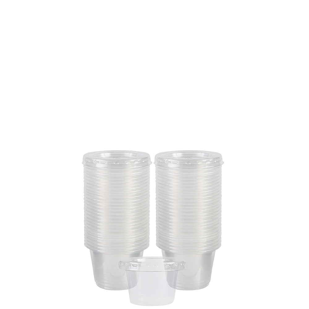CLEAR Plastic Jelly Shot Cups with Lids 60ct Image #1