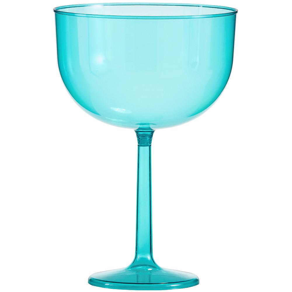 Large Caribbean Blue Plastic Wine Glass 47oz Party City