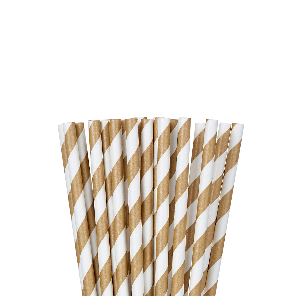 Gold Striped Paper Straws 24ct Image #1