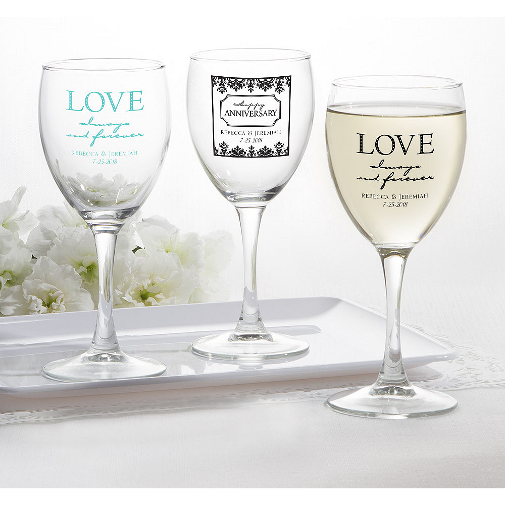 personalized wedding wine glasses printed glass robin s egg blue