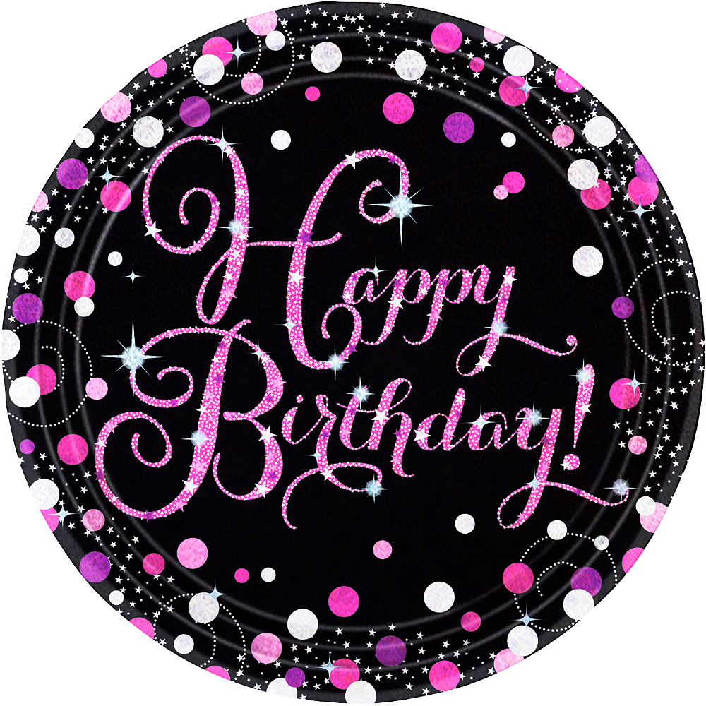 Prismatic Happy Birthday Lunch Plates 8ct - Pink Sparkling Celebration Image #1