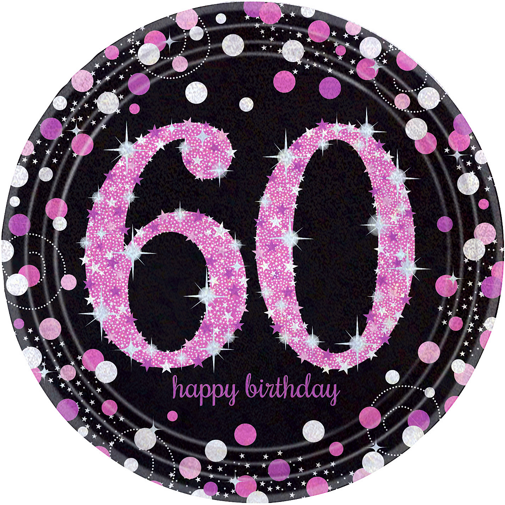 Prismatic 60th Birthday Lunch Plates 8ct - Pink Sparkling Celebration Image #1