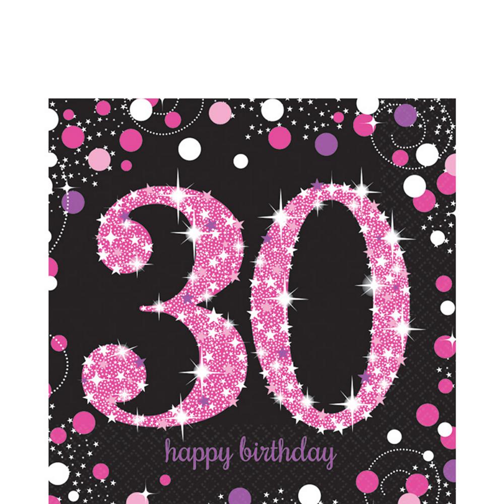 30th Birthday Lunch Napkins 16ct - Pink Sparkling Celebration Image #1